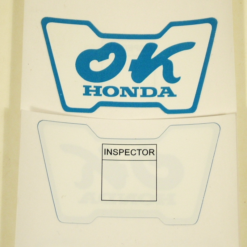 2 Restoration 'OK HONDA' labels/stickers engine bay & window