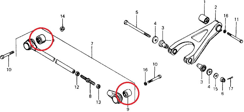 rear radius rod to chassis  hub polyurethane bushes  spf1470k